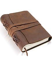 Scriveiner Premium El Yapımı Deri Günlük - Lüks 20,6 x 15,7 cm Astarsız Deri Bağlı Günlük Yazı Defteri, Erkekler ve Kadınlar için Yazılacak Günlükler, Pamuklu Kağıt Antik Seyahat Günlüğü Hediye