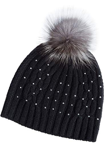 Cashmere Fox - Overland Sheepskin Co Knitted Cashmere Beanie Hat with Detachable Fox Fur Pom Black/Indigo