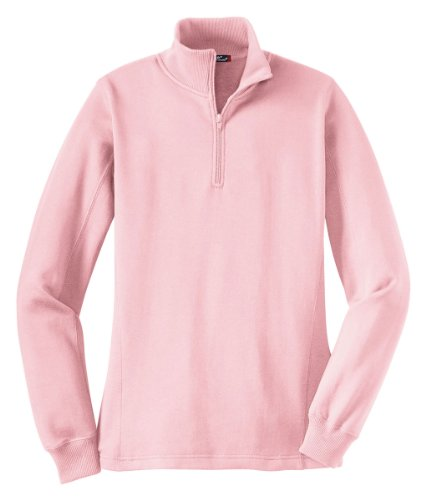 Sport-Tek Women's 1/4 Zip Sweatshirt L Pink - 1/4 Zip Fleece Sweatshirt