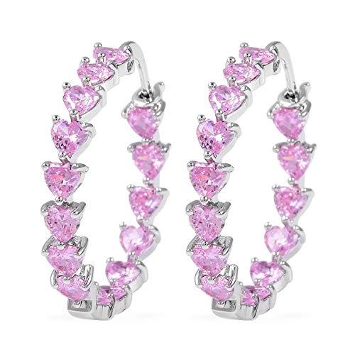(Silvertone Heart Cubic Zircon Pink CZ Inside Out Hoops Hoop Earrings for Women Gift Jewelry Cttw 10.8)