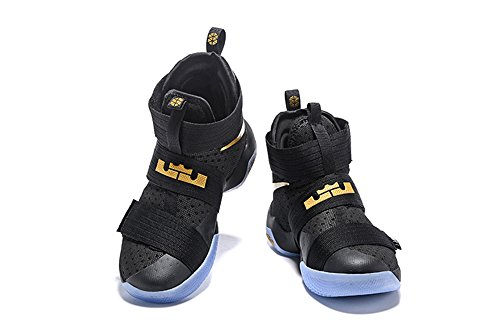 Men's Women's Air Zoom Basketball Shoe Soldier 10 Basketball Trainers Sneaker black gold US12 (Lebron Zoom Soldier 10 Black And Gold)