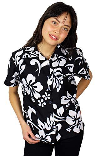 King Kameha Funky Hawaiian Blouse Shirt, Shortsleeve, Hibiscus, Black, XL