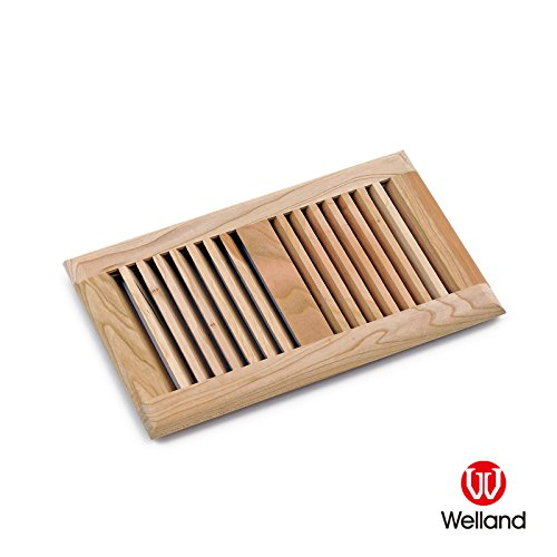 WELLAND American Cherry 6 x 10 Inch Wood Self Rimming Floor Register Vent Cover Grille Unfinished,3/4