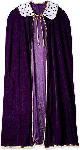 Curated Nirvana Robe for King and Queen | Purple Faux Velvet Cape for Medieval Costume, Prom, Mardi Gras Cloak, Halloween Costume | 4 feet 4 inches Long (1/pkg) (Queen Mardi Gras)