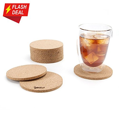 Round Cork Coaster - Sweese 3402 Cork Coasters - 4 Inches for Drinks - Set of 10, Round