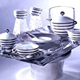 J.L. Coquet Hemisphere Platinum Stripe Breakfast Cup Serving Pieces