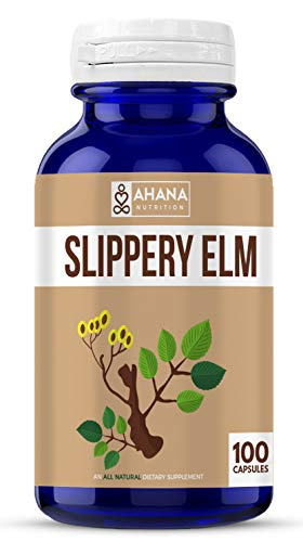 (Ahana Nutrition Pure Slippery Elm Capsules - 900mg of Slippery Elm Powder - Supports Sore Throat and Coughs, Aids Digestive Problems and Support Skin Health with Antioxidants (100 Capsules))
