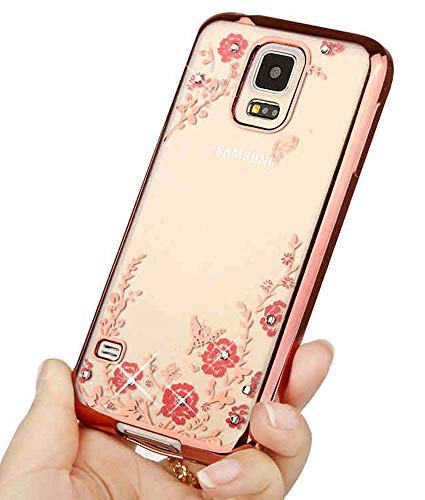 ase,Luxury Stylish Design Electroplated Slim Fit Lightweight Ultra Thin Metallic luster TPU Case Cover for Samsung Galaxy S5 SV i9600 - Flower Rose Gold ()