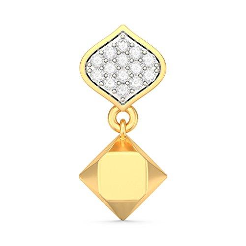 Or jaune 18K 0,14CT TW White-diamond (IJ   SI) Pendants d'oreilles