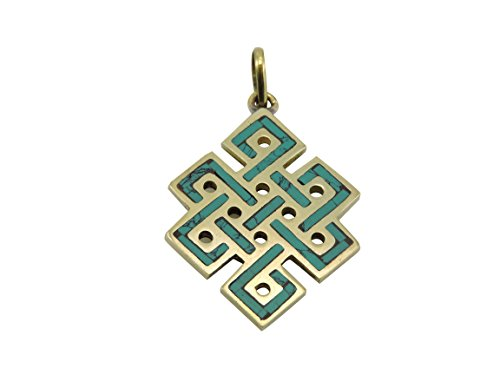(Handmade Turquoise Brass Eternal Knot Pendant from)