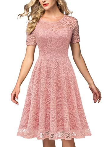 AONOUR AR8006 Women's Vintage Floral Lace Elegant Cocktail Formal Swing Dress with Short Sleeve Blush M