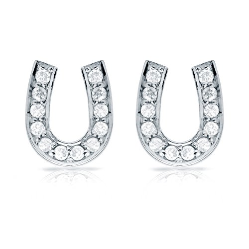 Diamond Wish 10K White Gold Diamond Horseshoe Stud Earrings (1/4ct TDW, White, I1-I2) ()