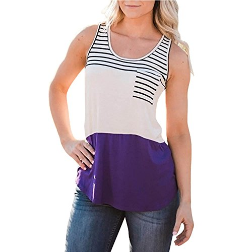 UONQD Women Blouse Stripe Sleeveless Summer Vest Tank Shirt Tops Shirt (X-Large,Xb-Purple) for $<!--$3.71-->
