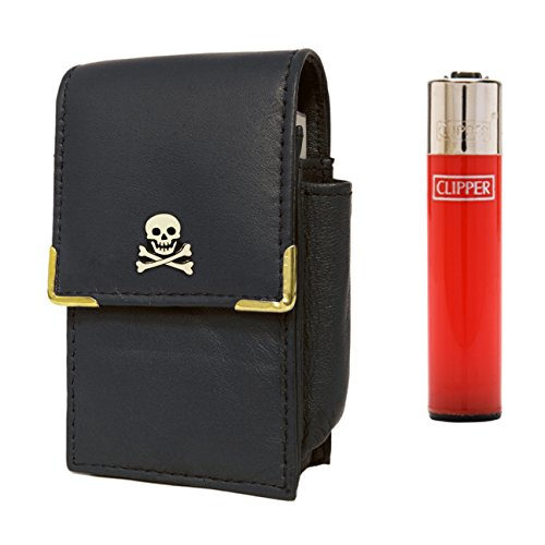 Clipper with holder packet and cigarette Skull lighter crossbones gas YaOqZwWF