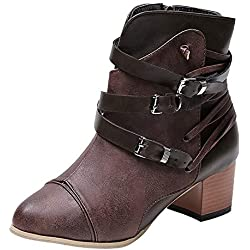 Mysky Fashion Women Vintage Square Heel Buckle Strap Leather Boots Ladies Casual Zipper Round Toe Shoes