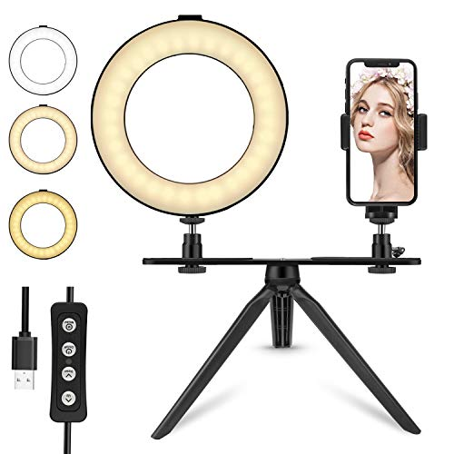 6'' LED Ring Light with Tripod Stand for Makeup/YouTube Video, Tenswall Mini Desktop LED Camra Light with Phone Holder Selfie Ring Light for Live Stream/Photography with 3 Light Modes & 11 Brightness ()