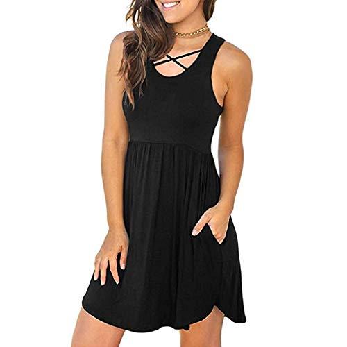 Oillian Women Summer Casual Loose S Port Racerback Sleeveless Solid Strappy A Line Mini Dress Beach (L, Black)