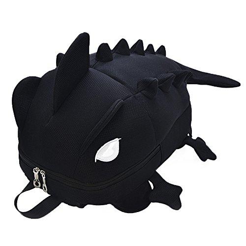 Moolecole Cartoon Monsters Dinosaur Backpack Funny School/Travel Bags,Big Black -