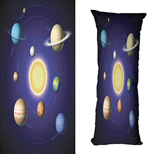DuckBaby Couple Pillowcase Space Solar System Illustration Showing Planets Around Sun Harmony of Galaxy Science Room Image Soft and Durable W19.5 xL63 Multi ()