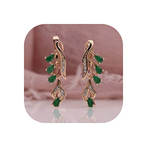 328 Anniversary 585 Rose Gold Multicolor Water Drop Natural Zircon Wedding Party Fine Jewelry Women Long Dangle Earrings,green