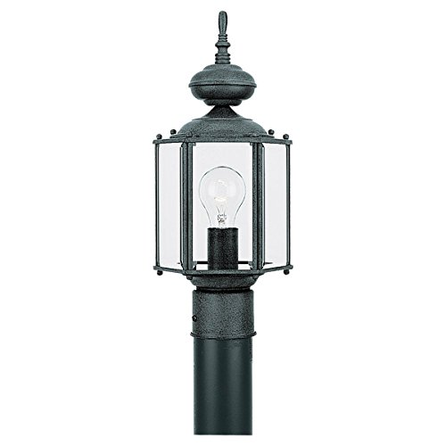 Sea Gull lighting 8209-12 Outdoor Post Lantern One Light Black with Clear Beveled Glass