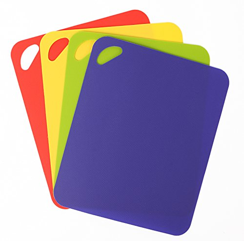 (Dexas Heavy Duty Grippmat Flexible Cutting Board Set of Four, 11.5 by 14 inches, Blue, Green, Yellow, Red)