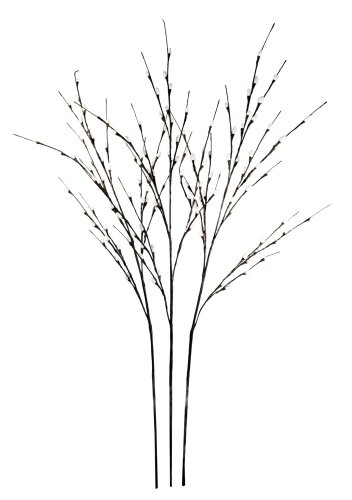 Hi-Line Gift LtdFloral Lights Lighted Pussy Willow (set of 3 Branches) with 144 bulbs, 48 inches (Lighted Pussy Willow Branches)