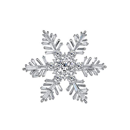 WeimanJewelry White Gold Plated Cubic Zirconia CZ Winter Art Deco Snowflake Flower Clear Brooch Pin for Women Lady Art Deco Pin Brooch