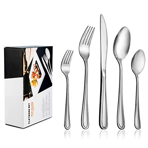 60-Piece Flatware Set for 12, LIANYU Stainless Steel Silverware Cutlery Set, Tableware Eating Utensils for Large Family Party Restaurant Hotel Wedding, Mirror Finish, Dishwasher Safe by LIANYU