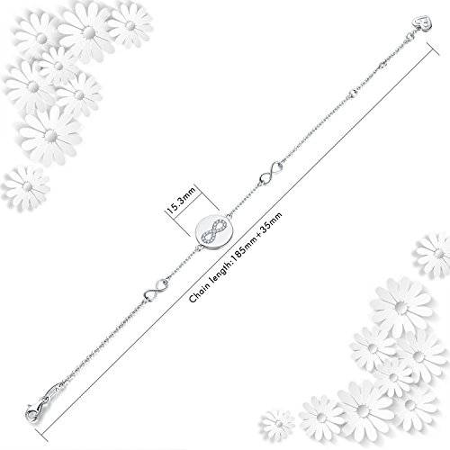AmorAime 925 Sterling Silver Infinity Symbol Endless Love Cubic Zirconia Disc Bracelet Gifts for Women Girls by AmorAime (Image #2)