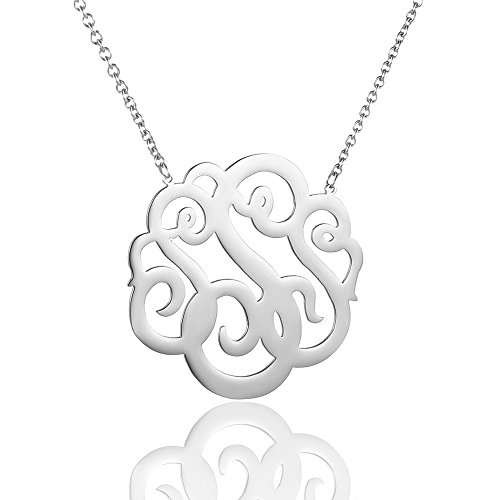 HUAN XUN Stainless Steel Initial Monogram Necklace, 16+2