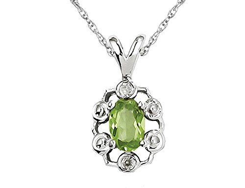 1/2 Carat (ctw) Natural Peridot Drop Pendant Necklace in Sterling Silver with Chain