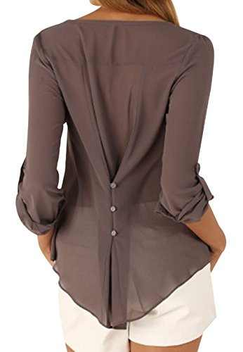 for brown Women OMZIN Blouses Size Shirts Women 1 Top Casual Plus XSvSCxY