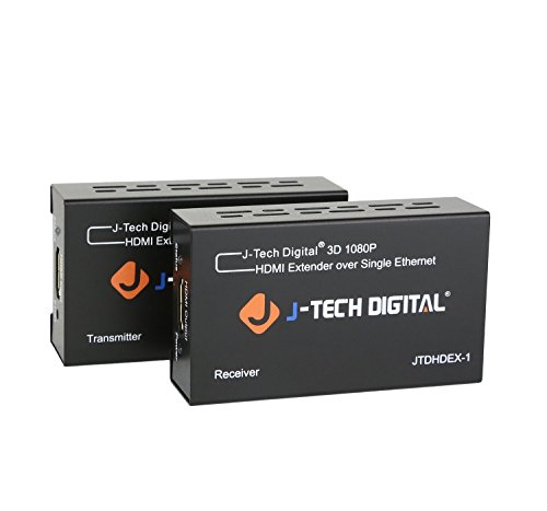 J-Tech Digital HDMI Extender By Single Cat 5E/6/7 Full Hd 1080P With Deep Color, EDID Copy, Dolby Digital/DTS ()