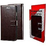 Designer Hub Vivo V9 Flip Cover Case with Stand/Wallet / Card Holder (Chocolate Brown)