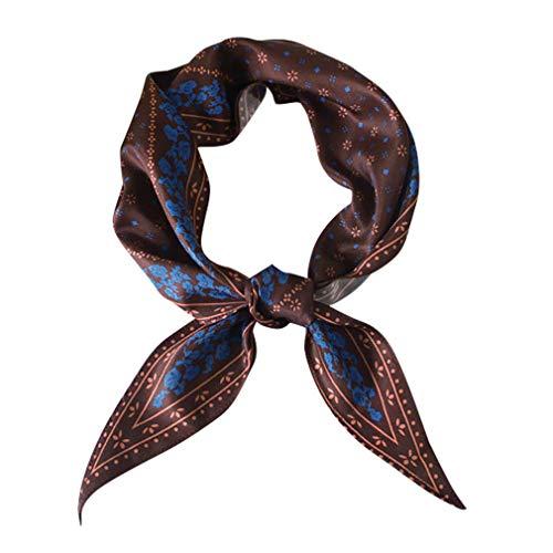 GERINLY Vintage Skinny Neck Scarves Floral Print Bag Scarf Retro Long Hair Tie Band for Ponytail (Dark Wine)