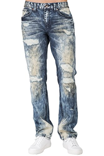 (Level 7 Men's Premium Jeans Slim Straight Destroyed Bleach Tainted Wash Size 32 X 32)
