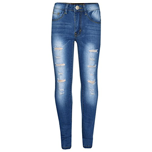 (Kids Girls Skinny Jeans Denim Ripped Stretchy Pants Jeggings New Age 3-13 Years)