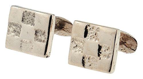 Pirantin Grid Designed Pure Copper 7 Year Anniversary Cufflinks