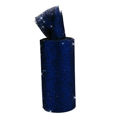 Premium Sparkling Tulle, Glitter Ribbon Spool, 6 inches by 10 yards (Navy Blue) -