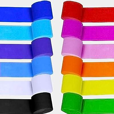 12 rouleaux multicolores papier de cr/êpe banderoles pour divers f/ête danniversaire de mariage Halloween Festival d/écorations de f/ête