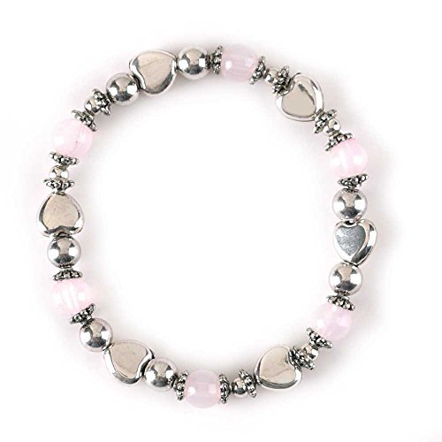 Silver Stretch Beaded Plated Bracelet (Heart Rose Quartz Color Antique Silver-Plated Women's Stretch Beaded Bracelet)