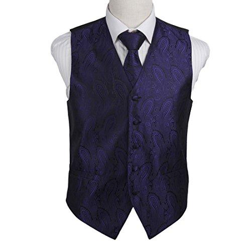 EGD1B03D-2XL Purple Black Paisley Microfiber Lawyers Dress Vests Neck Tie Set Popular For Designer By - Names Designer Popular