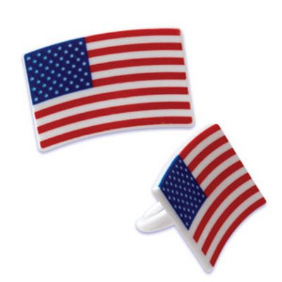 24pack American Flag Square Cupcake / Desert / Food Decoration Topper Rings with Favor Stickers & Sparkle Flakes