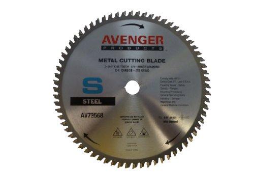 Avenger AV-72568 Steel Cutting Saw Blade, 7-1/4-inch by 68 tooth, 5/8-inch arbor with diamond KO, C-6, ATB