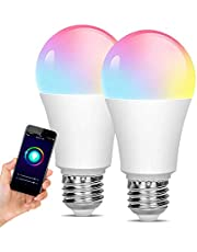 [2 Pack] WiFi LED Light, Smart Bulb, Sunrise and Sunset-dimmable, RGB Multi-Color, Warm White (Color-Changing Disco Ball Light)-9W A19 E27, Compatible with Alexa, Google Home and IFTTT