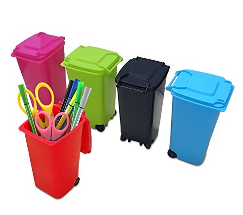 Mini Wheelie Trash Can Storage Bin Desktop Organizer Pen/Pencil Cup, 3pcs Creative Dust Bin School Supplies Holder- (Assorted Green, Blue, Red, Pink, and Black Colors) By Mega Stationers ()