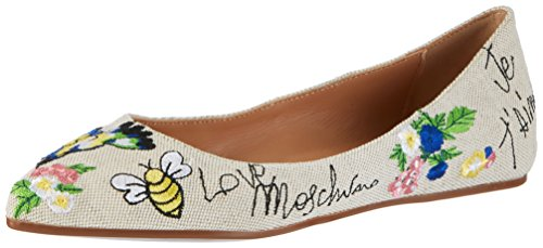 Moschino Damen Love Pink Canvas Geschlossene Ballerinas Natural 1URdqw5