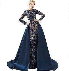 Style L (Navy) Long Sequin Mermaid Dress Sleeveless