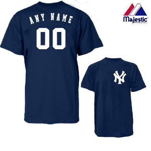 New York Yankees Personalized Custom (Add Name & Number) YOUTH LARGE 100% Cotton T-Shirt Replica Major League Baseball Jersey